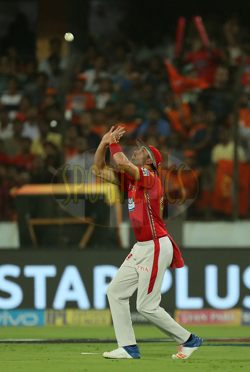 Andrew Tye of Kings XI Punjab takes a catch to dismiss Wriddhaman Saha of Sunrisers Hyderabad  during match twenty five of the Vivo Indian Premier League 2018 (IPL 2018) between the Sunrisers Hyderabad and the Kings XI Punjab  held at the Rajiv Gandhi International Cricket Stadium in Hyderabad on the 26th April 2018.<br /> <br /> Photo by: Prashant Bhoot /SPORTZPICS for BCCI