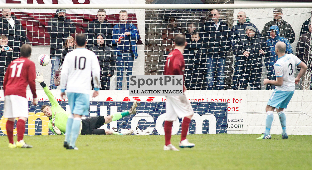 Iain Campbell gives Forfar a 2-1 lead from the penalty spot<br /> During the William Hill Scottish Cup match at Prestonfield Linlithgow