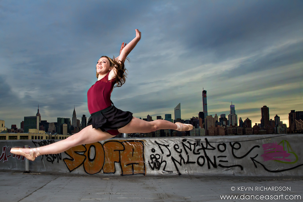 New York City Rooftop Ballerina Melanie Olinsky leap- Dance As Art- The New York Photography Project