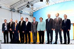 26.08.2013, Zwickau, GER, CD Wahlkampf, Bundeskanzlerin Angela Merkel besucht Zwickau, im Bild Bundeskanzlerin Angela Merkel (Mitte) beim gemeinsamen singen der Nationalhymne // during German Chancellor Angela Merkel visited Zwickau occasion of the CDU election program, Germany on 2013/08/26. EXPA Pictures © 2013, PhotoCredit: EXPA/ Eibner/ Bert Harzer<br /> <br /> ***** ATTENTION - OUT OF GER *****