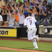 NEW YORK, NEW YORK - July 07: Jose Reyes #7 of the New York Mets rounds the bases after hitting a home run during the Washington Nationals Vs New York Mets regular season MLB game at Citi Field on July 07, 2016 in New York City. (Photo by Tim Clayton/Corbis via Getty Images)