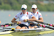 Hamilton, NEW ZEALAND.   USA W2X. Bow Stesha CARLE and Kethleen BERTKO, competing in the women's Double sculls, Repechage. 2010 World Rowing Championships, Lake Karapiro. Wednesday - 03.11.2010, [Mandatory Credit Peter Spurrier:Intersport Images].