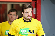 Norwich City goalkeeper Tim Krul (1) wearing a Kick It Out t-shirt before the EFL Sky Bet Championship match between Middlesbrough and Norwich City at the Riverside Stadium, Middlesbrough, England on 30 March 2019.