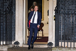 © Licensed to London News Pictures. 08/01/2018. London, UK. New Secretary of State for Culture, Media and Sport Matt Hancock leaves 10 Downing Street as Prime Minister Theresa May reshuffles the Cabinet. Photo credit: Rob Pinney/LNP