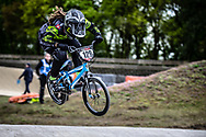 #129 (LACK Saskja) SUI during practice at Round 3 of the 2019 UCI BMX Supercross World Cup in Papendal, The Netherlands