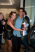 "CHARLOTTE DELLAL; BEN HYPOLITE, Video artist Yi Zhou  first solo show ""I am your Simulacrum"".Exhibition opening at 20 Hoxton Square Projects. Hoxton Sq. London. 1 September 2010.  -DO NOT ARCHIVE-© Copyright Photograph by Dafydd Jones. 248 Clapham Rd. London SW9 0PZ. Tel 0207 820 0771. www.dafjones.com."