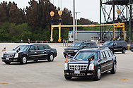CAPE CANAVERAL, FL -  APRIL 15:  The presidential motorcade stands by to transport United States President Barack Obama at the shuttle landing facility at Kennedy Space Center April 15, 2010 in Cape Canaveral. Obama was holding a summit to discuss the future of the space program. (Photo by Matt Stroshane/Getty Images)