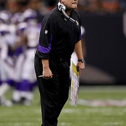 September 9, 2010; New Orleans, LA, USA; Minnesota Vikings head coach Brad Childress during the NFL Kickoff season opener at the Louisiana Superdome. The New Orleans Saints defeated the Minnesota Vikings 14-9.  Mandatory Credit: Derick E. Hingle