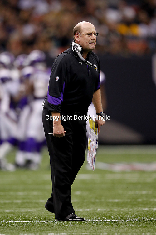 September 9, 2010; New Orleans, LA, USA; Minnesota Vikings head coach Brad Childress during the NFL Kickoff season opener at the Louisiana Superdome. The New Orleans Saints defeated the Minnesota Vikings 14-9.  Mandatory Credit: Derick E. Hingle