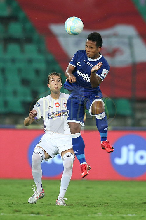 Jeje Lalpekhlua of Chennaiyin FC in action during match 46 of the Hero Indian Super League between Chennaiyin FC and FC Pune City held at the Jawaharlal Nehru Stadium, Chennai India on the 13th January 2018<br /> <br /> Photo by: Deepak Malik  / ISL / SPORTZPICS