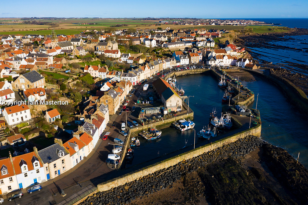 Aerial view from drone of Pittenweem fishing village in the East Neuk of Fife, Scotland, UK