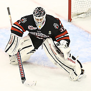 Clay Witt #31 of the Northeastern Huskies on the ice during The Beanpot Championship Game at TD Garden on February 10, 2014 in Boston, Massachusetts. (Photo by Elan Kawesch)
