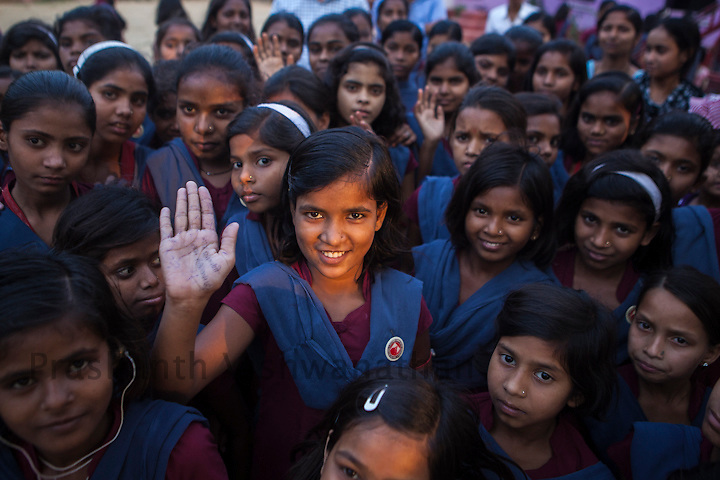 Primary School: Kasturba Gandhi Balika Vidyalaya (KGBV) Tharthari, Block- Tharthari, District: Nalanda Bihar, India, 17 May 2013:.,KGBV ( Tharthari), May 17, 2013. Bihar is one of the first states which started initiatives to educate disabled girls who are either Hearing impairment or orthopedically handicapped. This initiative for children with special need (CWSN) has been started with collaboration of Kasturba Gandhi Balika Vidyalaya  (KGBV). Girls with disabilities are receiving special focus and efforts would be made under the scheme to help them gain access to education, medial  support, accommodation and other required supports.  UNICEF India/2013/Prashanth Vishwanathan