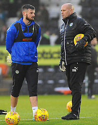 Harry Pickering of Forest Green Rovers speaks with Forest Green Rovers goal keeping coach Steve Hale-Mandatory by-line: Nizaam Jones/JMP - 18/11/2017 - FOOTBALL - New Lawn Stadium - Nailsworth, England - Forest Green Rovers v Crewe Alexandre-Sky Bet League Two