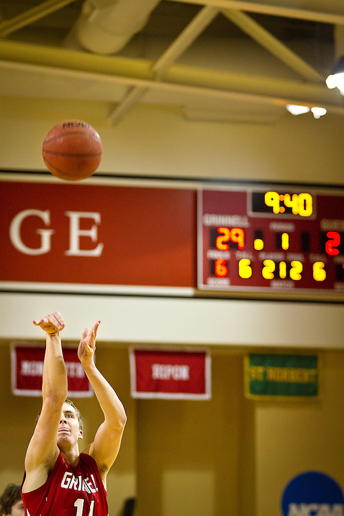 Griffin Lentsch '13, shoots a free throw during Grinnell College's recent 117-84 victory over the Beloit Buccaneers in Darby Gymnasium. BEN BREWER/Grinnell College