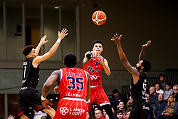 Tevin Falzon of Bristol Flyers passes the ball - Photo mandatory by-line: Robbie Stephenson/JMP - 11/01/2019 - BASKETBALL - Leicester Sports Arena - Leicester, England - Leicester Riders v Bristol Flyers - British Basketball League Championship