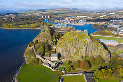 Ariel view of Dumbarton Castle and Dumbarton Rock in West Dunbartonshire, Scotland, UK