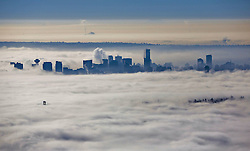 60632289 <br /> Fog blankets over the city of Vancouver, Canada, Oct. 23, 2013. Thick fog that has blanketed B.C. s south coast for more than a week as a result of ridge of high pressure. Some flights and ferries cancellations, including traffic accidents were happened more frequently during these foggy days, Vancouver, Canada, Wednesday, 23rd October 2013. Picture by  imago / i-Images<br /> UK ONLY
