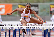 Apr 20, 2019; Torrance, CA, USA; Dior Hall of Southern California runs in the women's 100m hurdles during the 61st Mt. San Antonio College Relays at El Camino College.