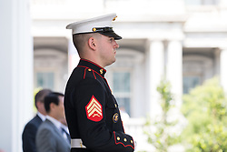 June 30, 2017 - Washington, United States - A Marine prepares for the arrival of President Moon of the Republic of Korea, at the West Wing Portico (North Lawn) of the White House, on Friday, June 30, 2017. (Photo by Cheriss May) (Credit Image: © Cheriss May/NurPhoto via ZUMA Press)