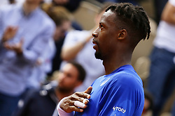 May 30, 2019 - Paris, France - France's Gael Monfils celebrates after winning against France's Adrian Mannarino during their men's singles second round match on day five of The Roland Garros 2019 French Open tennis tournament in Paris on May 30, 2019. (Credit Image: © Ibrahim Ezzat/NurPhoto via ZUMA Press)