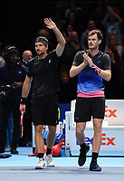 Tennis - 2018 Nitto ATP Finals at The O2 - Day Five<br /> <br /> Group Doubles Group Llodra/Santoro: Jamie Murray (GB) & Bruno Soares (Bra) vs. Henri Kontinen (Fin) & John Peers (Aus)<br /> <br /> Murray and Soares celebrate their victory - 3-6, 7-6(3), 10-3.<br /> <br /> COLORSPORT/ASHLEY WESTERN