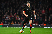 Rennes Ramy Bensabaini (15) in action during the Europa League round of 16, leg 2 of 2 match between Arsenal and Rennes at the Emirates Stadium, London, England on 14 March 2019.