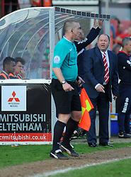Cheltenham Town Manager, Gary Johnson appeals to the linesman.  - Photo mandatory by-line: Nizaam Jones - Mobile: 07966 386802 - 06/04/2015 - SPORT - Football - Cheltenham - Whaddon Road - Cheltenham Town v Stevenage - Sky Bet League Two