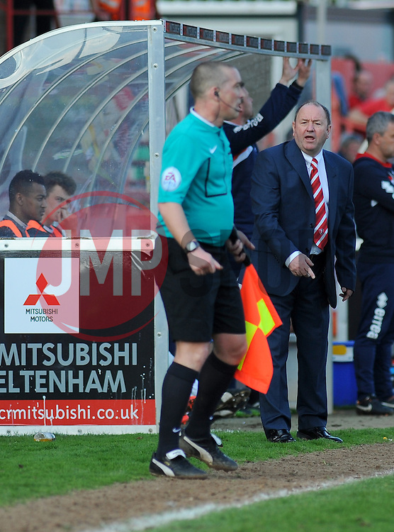 Cheltenham Town Manager, Gary Johnson appeals to the linesman.  - Photo mandatory by-line: Nizaam Jones - Mobile: 07966 386802 - 06/04/2015 - SPORT - Football - Cheltenham - Whaddon Road - Cheltenham Town v Stevenage - Sky Bet League Two