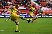 Barry Fuller (captain) of AFC Wimbledon during the EFL Sky Bet League 1 match between Charlton Athletic and AFC Wimbledon at The Valley, London, England on 28 October 2017. Photo by Toyin Oshodi.