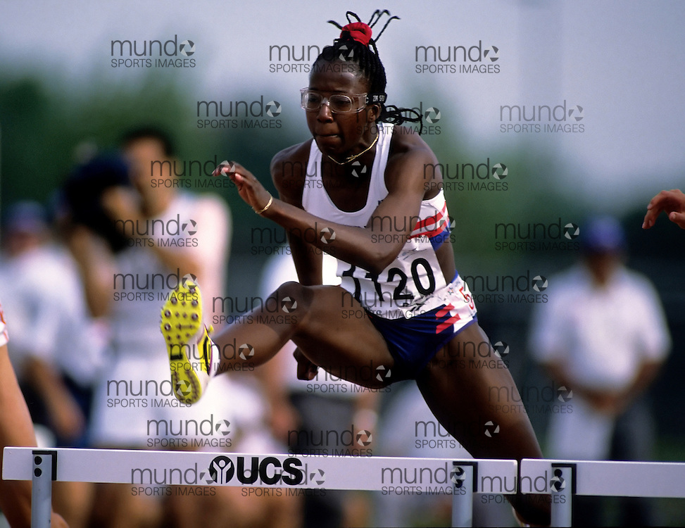 (Bufallo, New York---21 July 1993)  Jeeter (?) competing in the heptathlon 100m hurdles at the 1993 World Student Games (FISU). Copyright Sean Burges / Mundo Sport Images, 1993