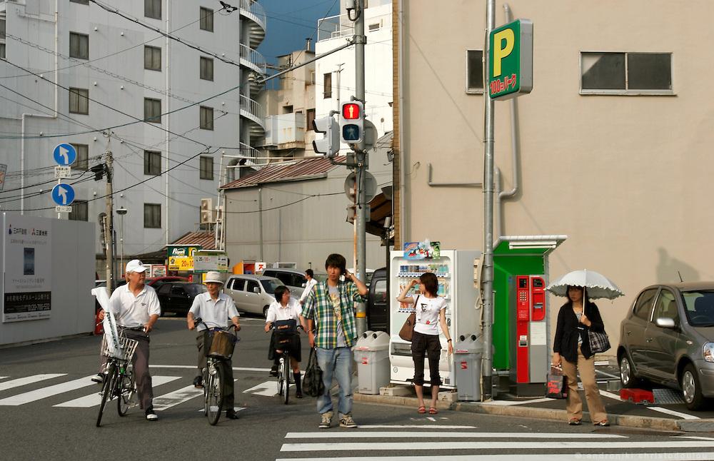 Hiroshima City. Waiting to cross the street