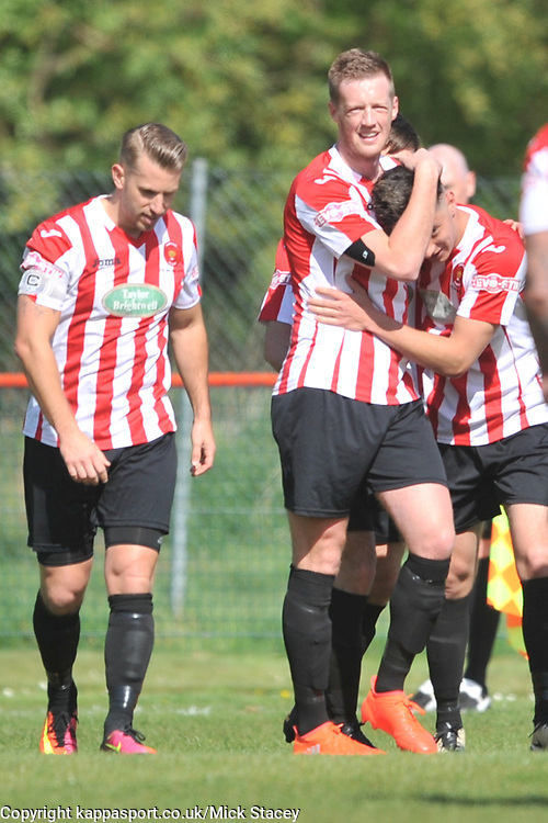 KEMPSTON CELEBRATE  BEN SHEPERD  FIRST GOALKempston Rovers v Fleet Town, Evostick Southern League Central Saturday 15th April 2017. Score 3-1. Photo:Mike Capps