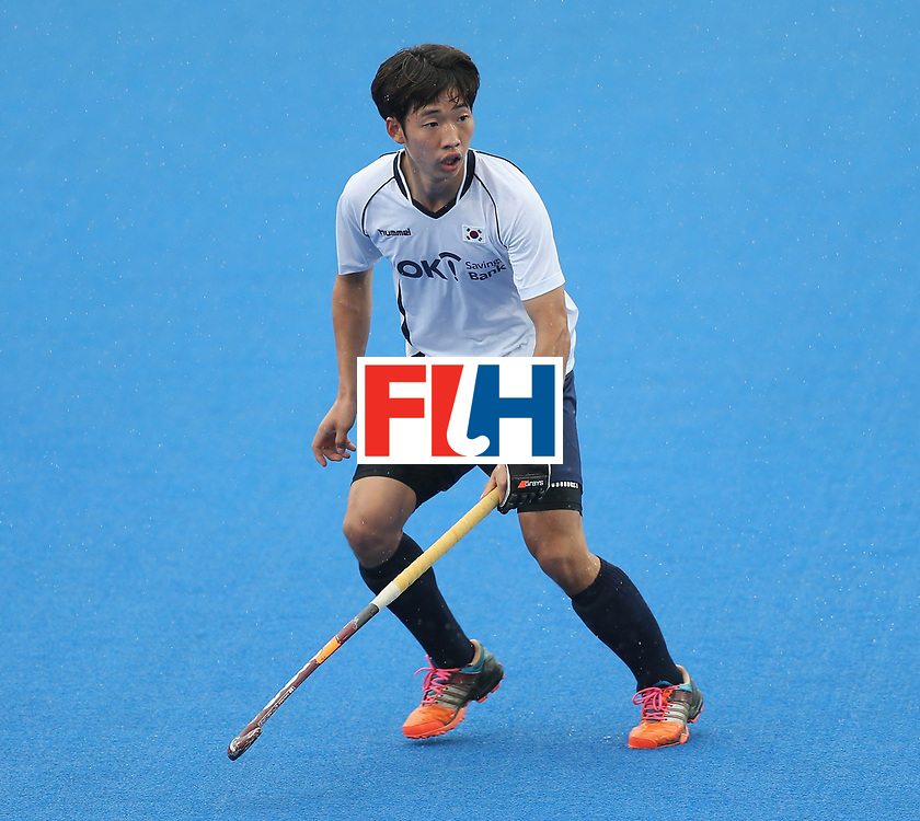 LONDON, ENGLAND - JUNE 17:  Woohyeong Seo of Korea during the FIH Mens Hero Hockey Champions Trophy 5th-6th place match between Beligium and Korea at Queen Elizabeth Olympic Park on June 17, 2016 in London, England.  (Photo by Alex Morton/Getty Images)
