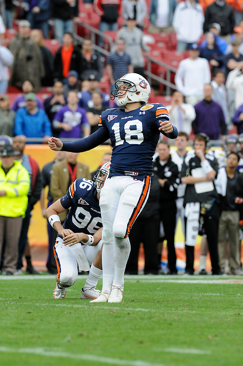 January 1, 2010: Kicker Wes Byrum of the Auburn Tigers kick the eventual game winning field goal in overtime during the NCAA football game between the Northwestern Wildcats and the Auburn Tigers in the Outback Bowl. The Tigers defeated the Wildcats 38-35 in overtime.
