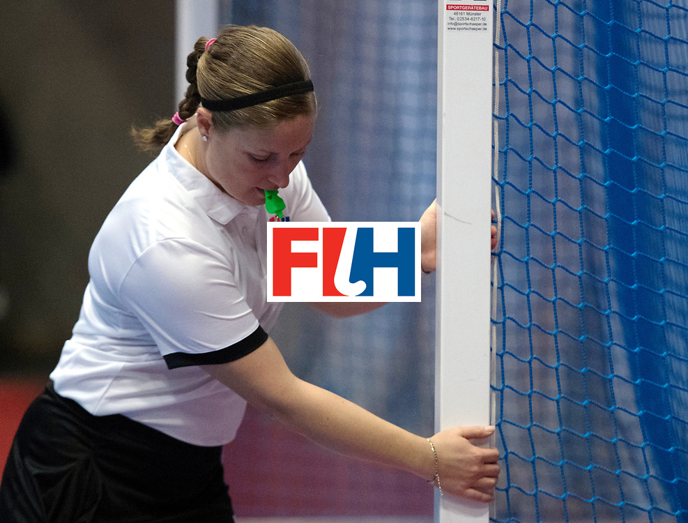 BERLIN - Indoor Hockey World Cup<br /> Belarus - Poland<br /> foto: Umpire Maggie Giddens<br /> WORLDSPORTPICS COPYRIGHT FRANK UIJLENBROEK