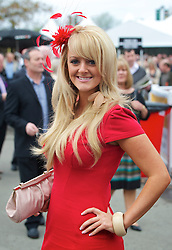 LIVERPOOL, ENGLAND, Thursday, April 7, 2011: Racegoer Heather Baldwin from the Wirral during Liverpool Day on Day One of the Aintree Grand National Festival at Aintree Racecourse. (Photo by David Rawcliffe/Propaganda)