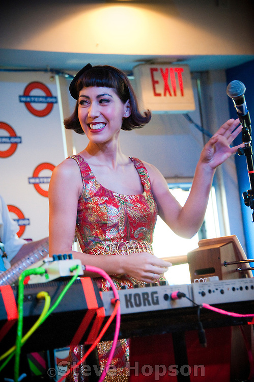 Yvonne Lambert of Austin Indie band, The Octopus Project performs on a theremin, Waterloo Records, Austin, Texas, November 4, 2010.