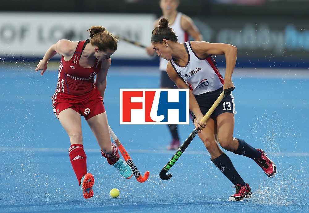 LONDON, ENGLAND - JUNE 23: Helen Richardson-Walsh of Great Britain and Emily Wold of USA during the FIH Women's Hockey Champions Trophy match between Great Britain and USA at Queen Elizabeth Olympic Park on June 23, 2016 in London, England.  (Photo by Alex Morton/Getty Images)
