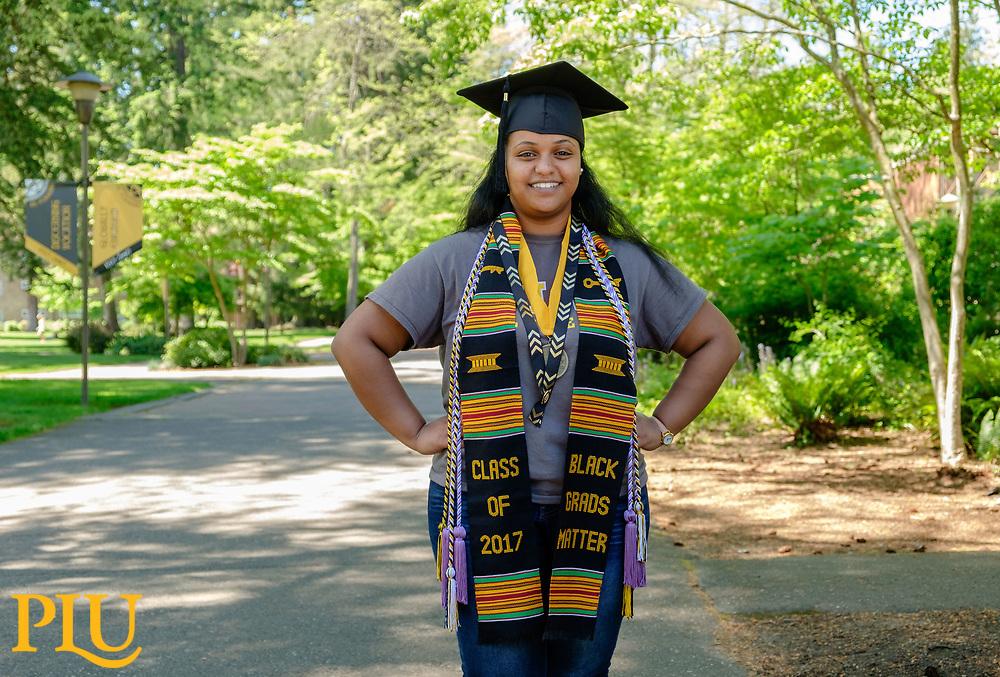 Nursing grad Samrawit Zeinu '17, at PLU, Tuesday, May 23, 2017. (Photo: John Froschauer/PLU)