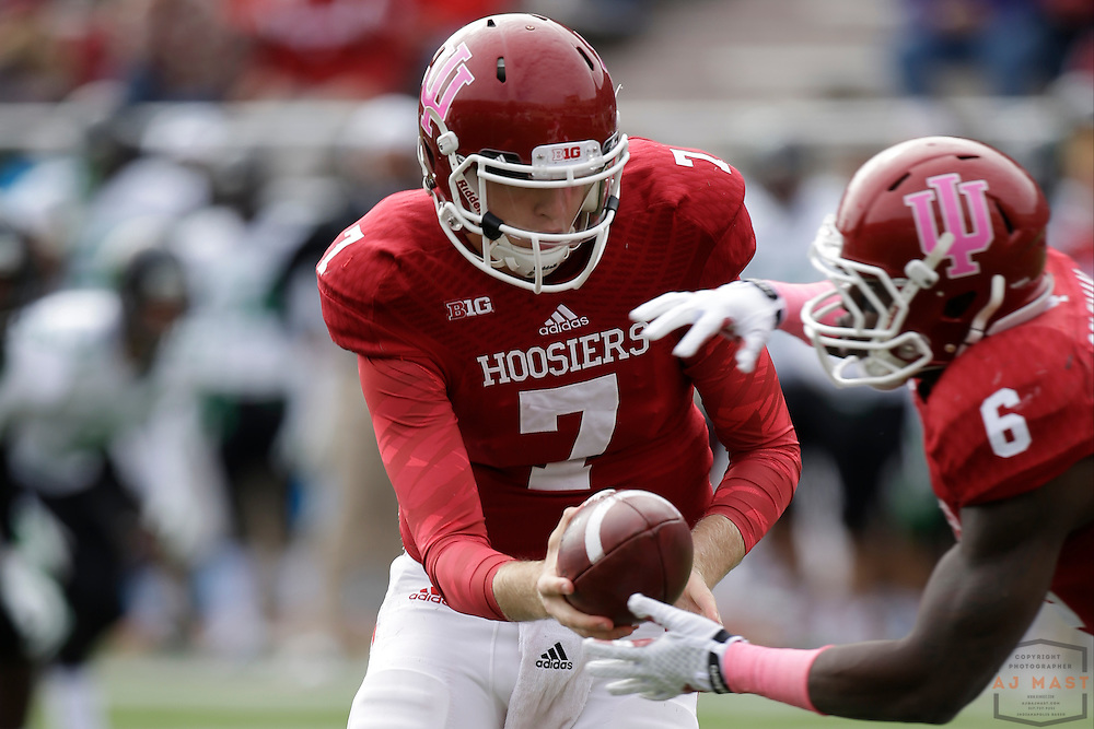 04 October 2014: Indiana Hoosiers quarterback Nate Sudfeld (7)  as the Indiana Hoosiers played North Texas in a NCAA college football game in Bloomington, IN.