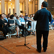 SEPTEMBER 26, 2017---MIAMI, FLORIDA---<br /> Jorge Perez Jaramillo, architect, from Universidad de Santo Tomas in Medellin, Colombia, during presentation. This was part of the Miami Dade College series, By the People.<br /> (Photo by Angel Valentin/Freelance).