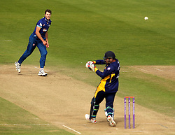 Gloucestershire's Craig Miles bowls a short ball at Durham's John Hastings - Mandatory by-line: Robbie Stephenson/JMP - 07966386802 - 04/08/2015 - SPORT - CRICKET - Bristol,England - County Ground - Gloucestershire v Durham - Royal London One-Day Cup