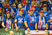 Great Britain fans celebrate winning a point during the Davis Cup Semi Final between Great Britain and Argentina at the Emirates Arena, Glasgow, United Kingdom on 16 September 2016. Photo by Craig Doyle.