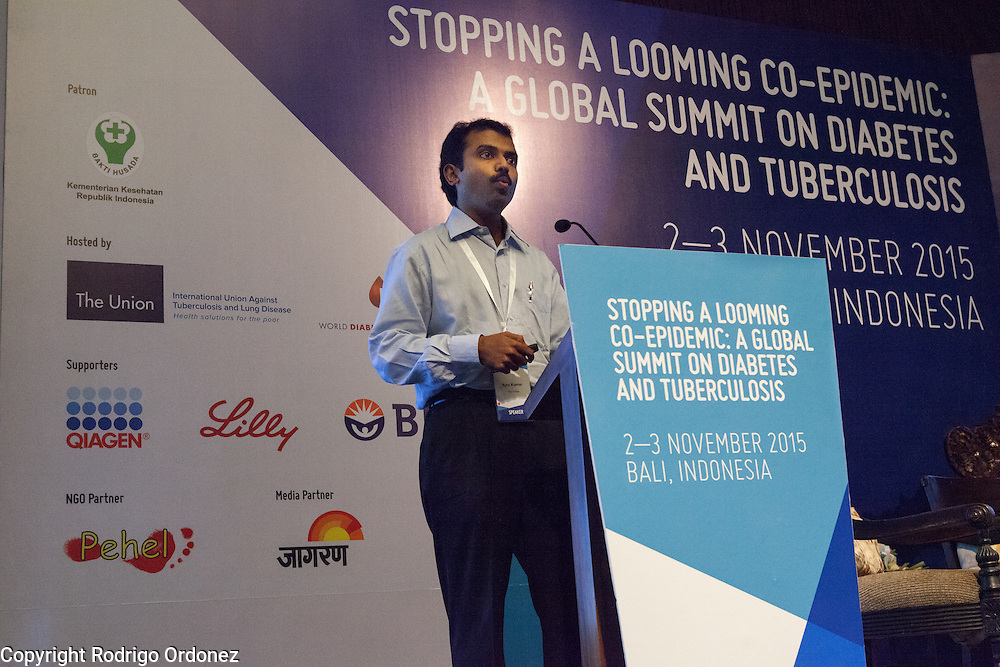 Dr Ajay Kumar, Deputy Director of The Union's Centre for Operational Research, speaks about bi-directional screening in India at the global summit on diabetes and tuberculosis in Bali, Indonesia, on November 2, 2015.<br /> The increasing interaction of TB and diabetes is projected to become a major public health issue.&nbsp;The summit gathered a hundred public health officials, leading researchers, civil society representatives and business and technology leaders, who committed to take action to stop this double threat. (Photo: Rodrigo Ordonez for The Union)