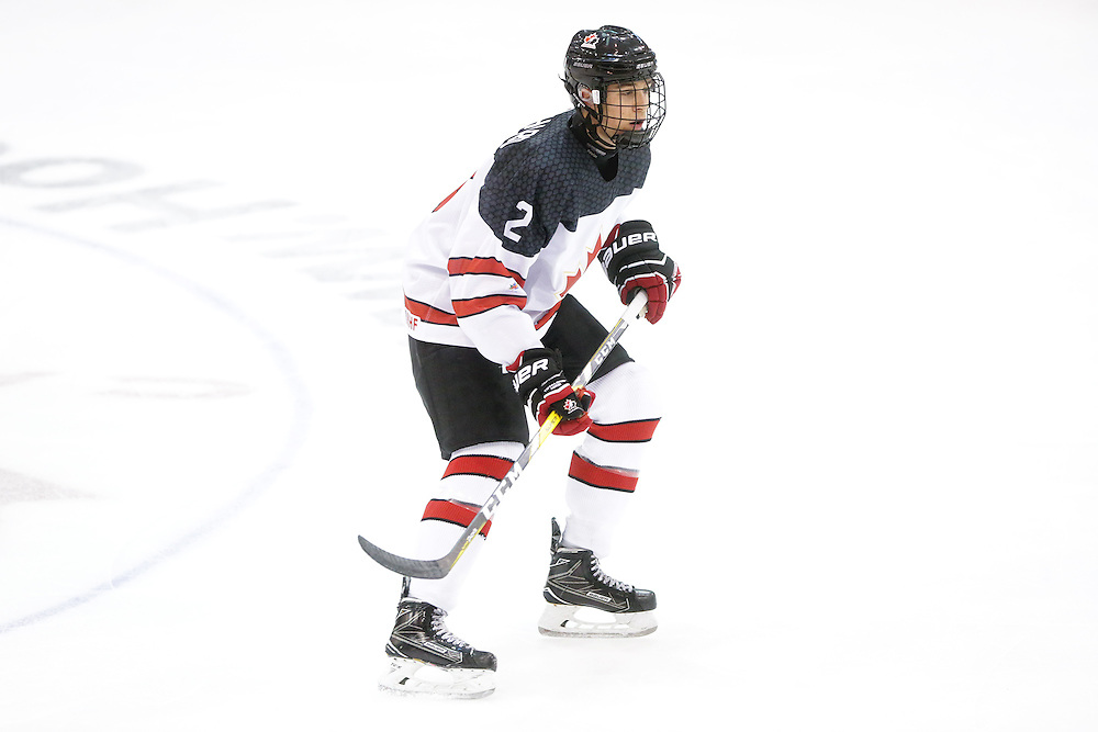 Xavier Bouchard (Baie-Comeau Drakkar) seen representing Team Canada White in the 2016 World Under-17 Hockey Challenge played in Sault Ste. Marie, Ont. Photo by Kenneth Armstrong for CHL Images