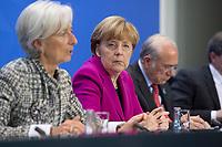 11 MAR 2015, BERLIN/GERMANY:<br /> Christine Lagarde, Geschaeftsfuehrende Direktorin des IWF, Angela Merkel, CDU, Bundeskanzlerin, Angel Gurría, OECD-Generalsekretaer, (v.L.n.R.), während einer Pressekonferenz nach einem Gespraech der Bundeskanzlerin mit den Vorsitzenden internationaler Wirtschafts- und Finanzorganisationen, Infosaal, Bundeskanzleramt<br /> IMAGE: 20150311-02-009