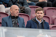 Gary McAllister and Steven Gerrard of Rangers in the stand during the Ladbrokes Scottish Premiership match between Heart of Midlothian and St Johnstone at Tynecastle Stadium, Gorgie, Scotland on 29 September 2018.