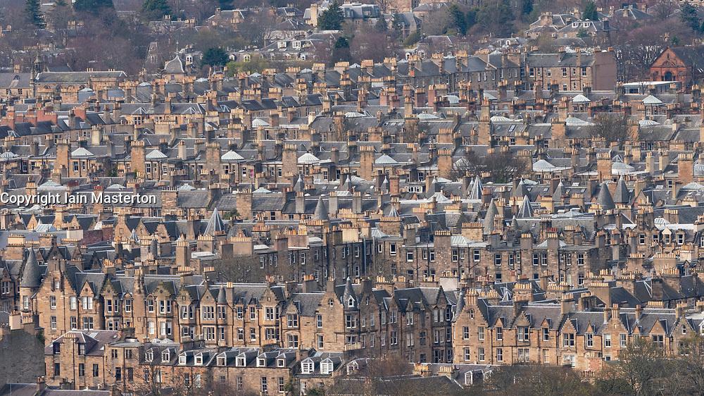 View of tenement apartment buildings in Bruntsfield district of Edinburgh, Scotland ,UK