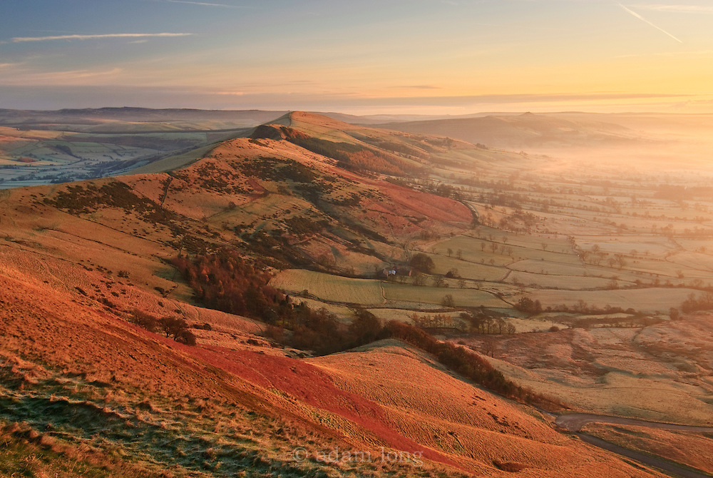 Dawn colours break over the Great Ridge from Mam Tor, Peak District